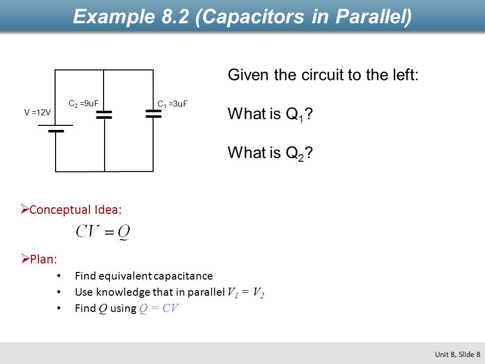 Example 8.2 (Capacitors in Parallel)