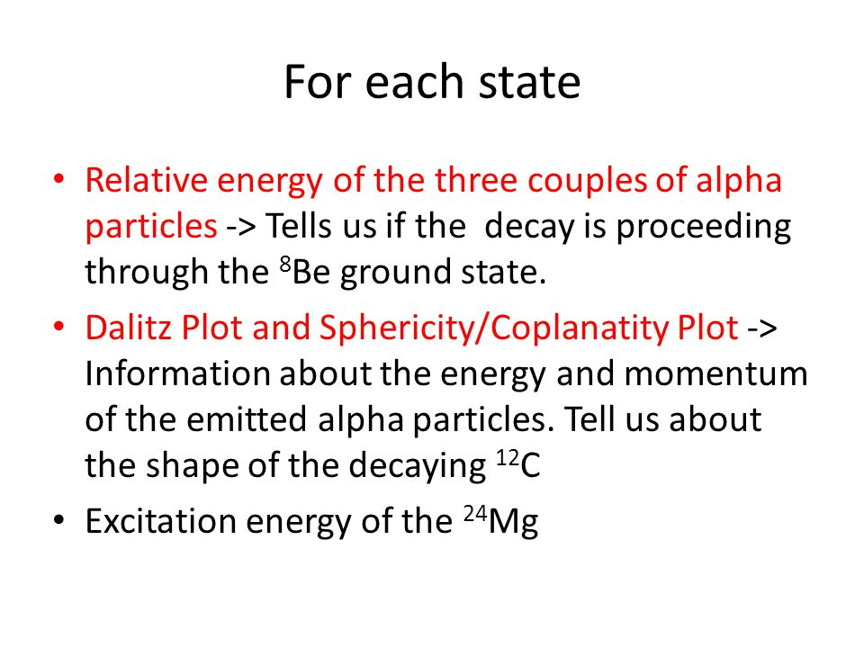 For each state Relative energy of the three couples of alpha particles -> Tells us if the decay is proceeding through the 8Be ground state.