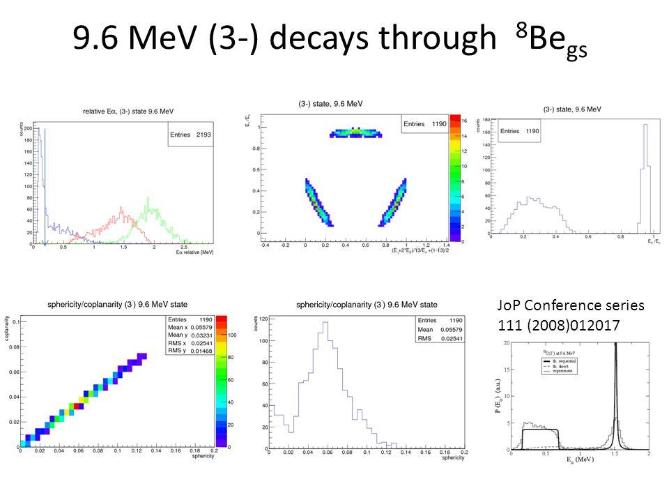 9.6 MeV (3-) decays through 8Begs