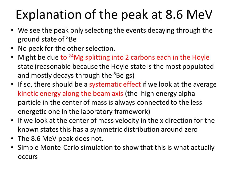 Explanation of the peak at 8.6 MeV