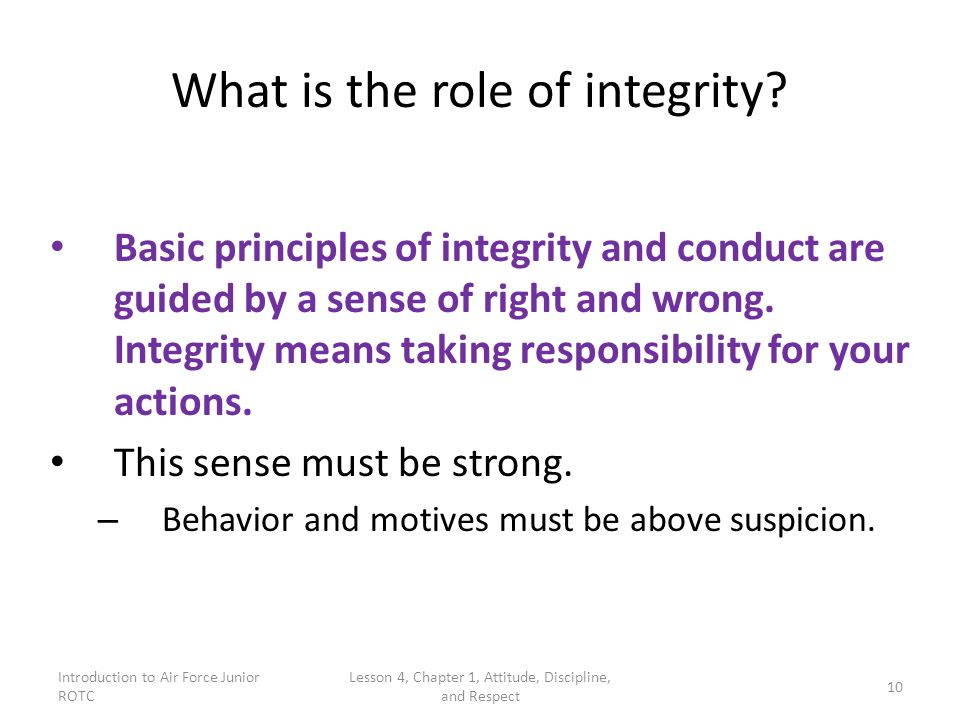 What is the role of integrity