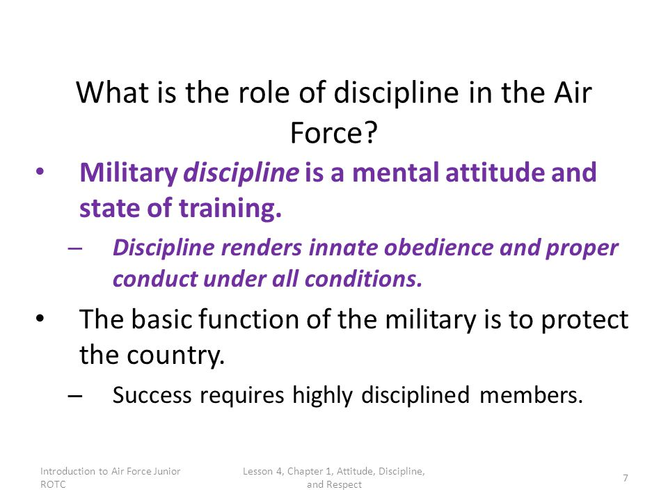 What is the role of discipline in the Air Force
