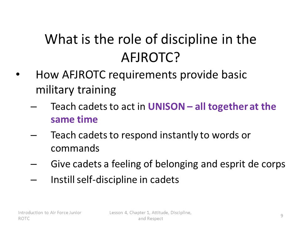 What is the role of discipline in the AFJROTC