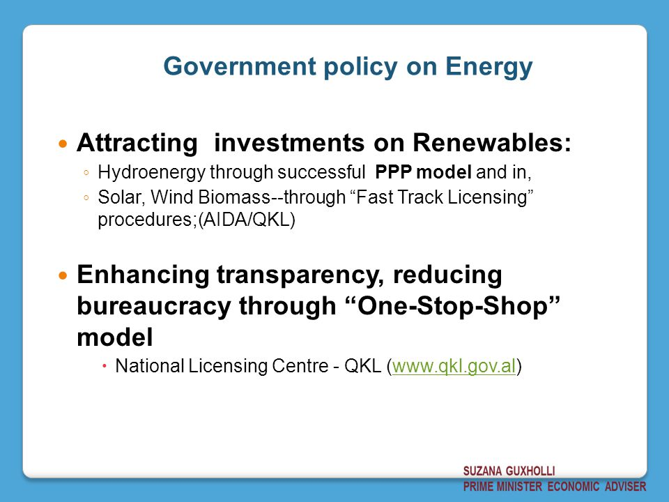 Government policy on Energy