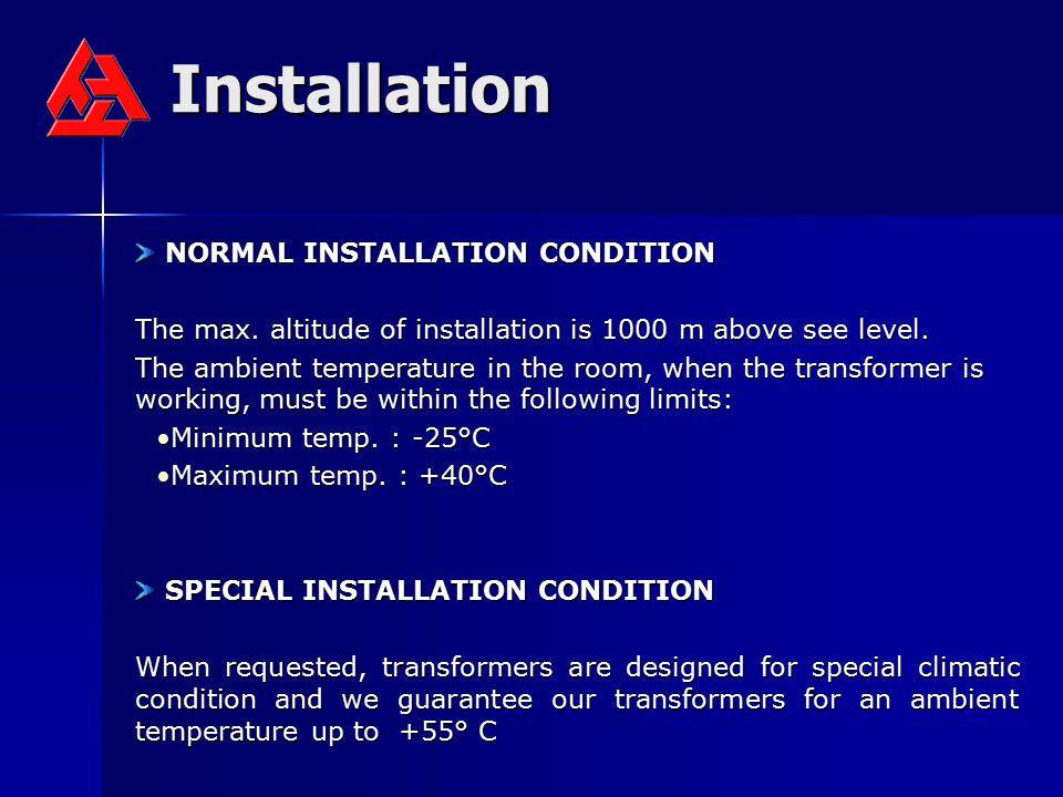 Installation NORMAL INSTALLATION CONDITION