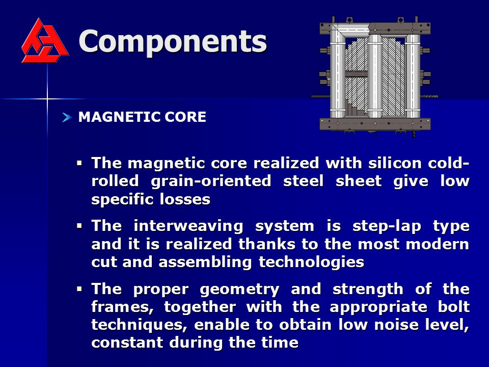 Components MAGNETIC CORE. The magnetic core realized with silicon cold-rolled grain-oriented steel sheet give low specific losses.