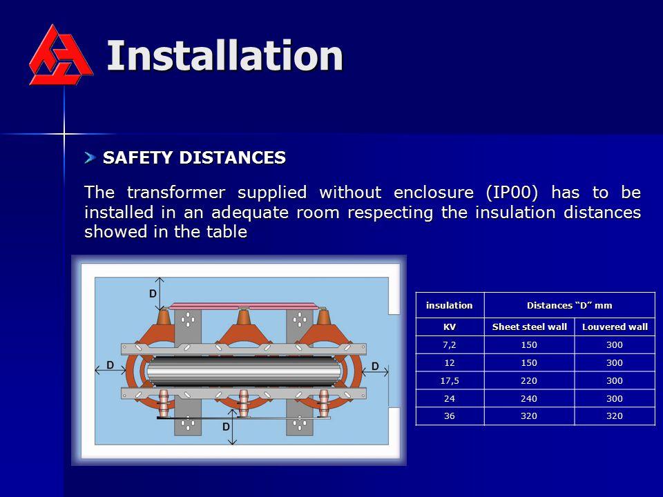 Installation SAFETY DISTANCES