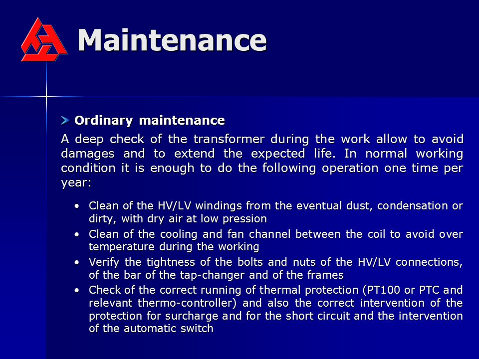 Maintenance Ordinary maintenance