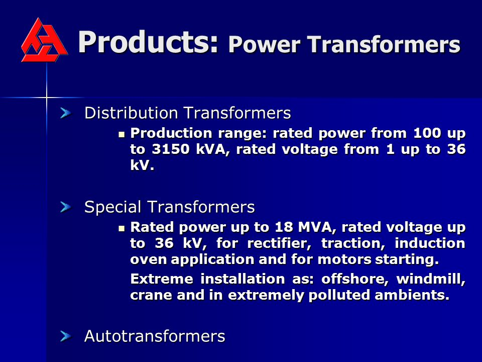 Products: Power Transformers
