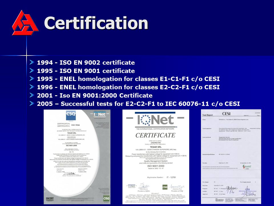 Certification 1994 - ISO EN 9002 certificate