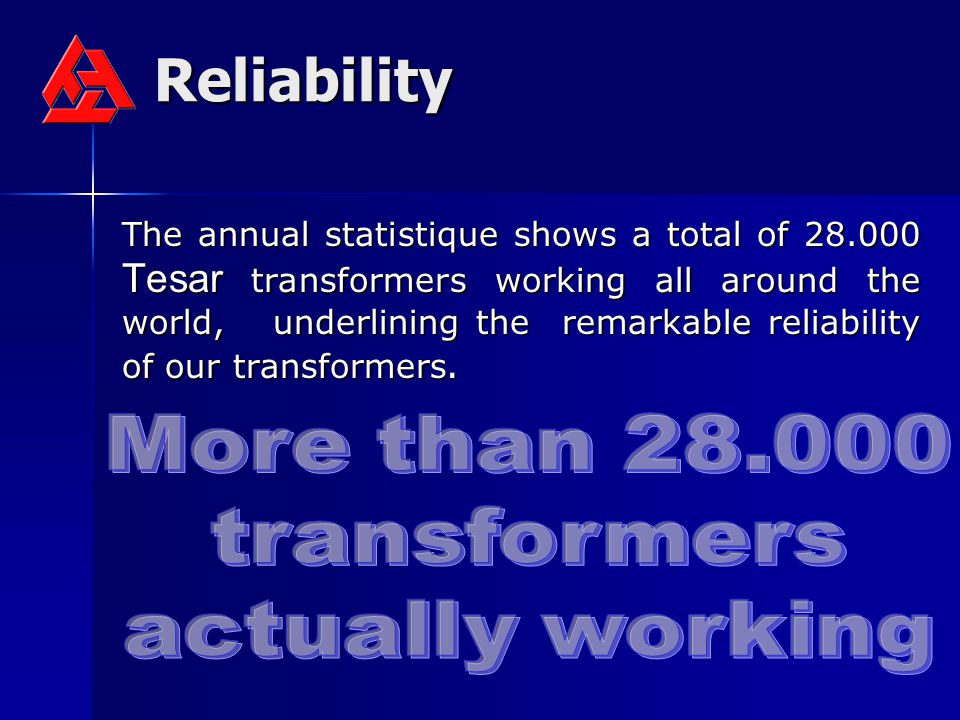 Reliability More than 28.000 transformers actually working