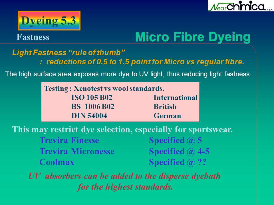 Dyeing 5.3 Fastness. Light Fastness rule of thumb : reductions of 0.5 to 1.5 point for Micro vs regular fibre.