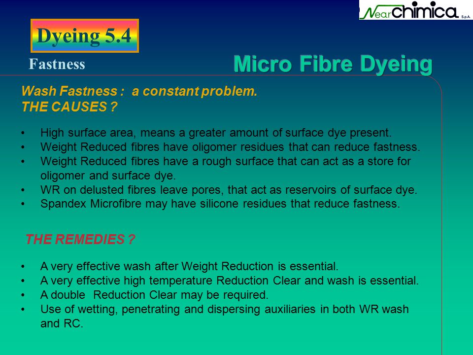 Dyeing 5.4 Fastness Wash Fastness : a constant problem. THE CAUSES
