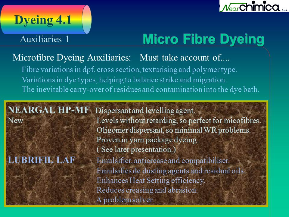 Dyeing 4.1 Auxiliaries 1. Microfibre Dyeing Auxiliaries: Must take account of....