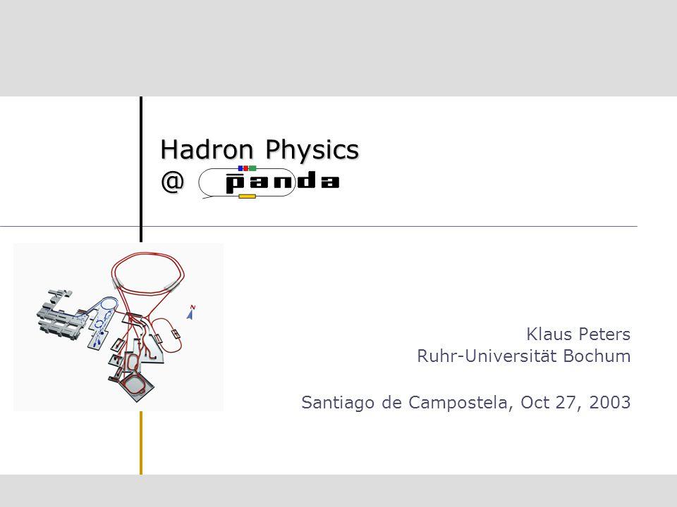 Hadron Physics @ Klaus Peters Ruhr-Universität Bochum Santiago de Campostela, Oct 27, 2003