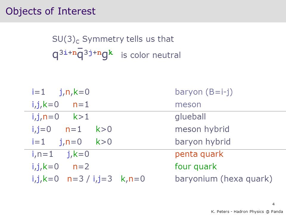 Objects of Interest SU(3)C Symmetry tells us that q3i+nq3j+ngk is color neutral.