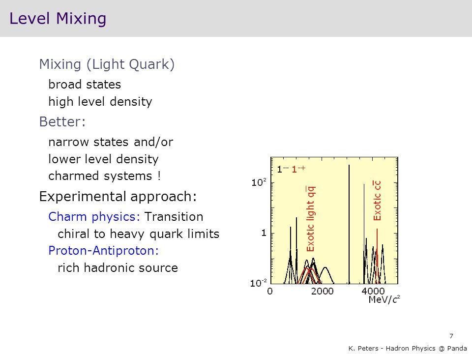 Level Mixing Mixing (Light Quark) Better: Experimental approach:
