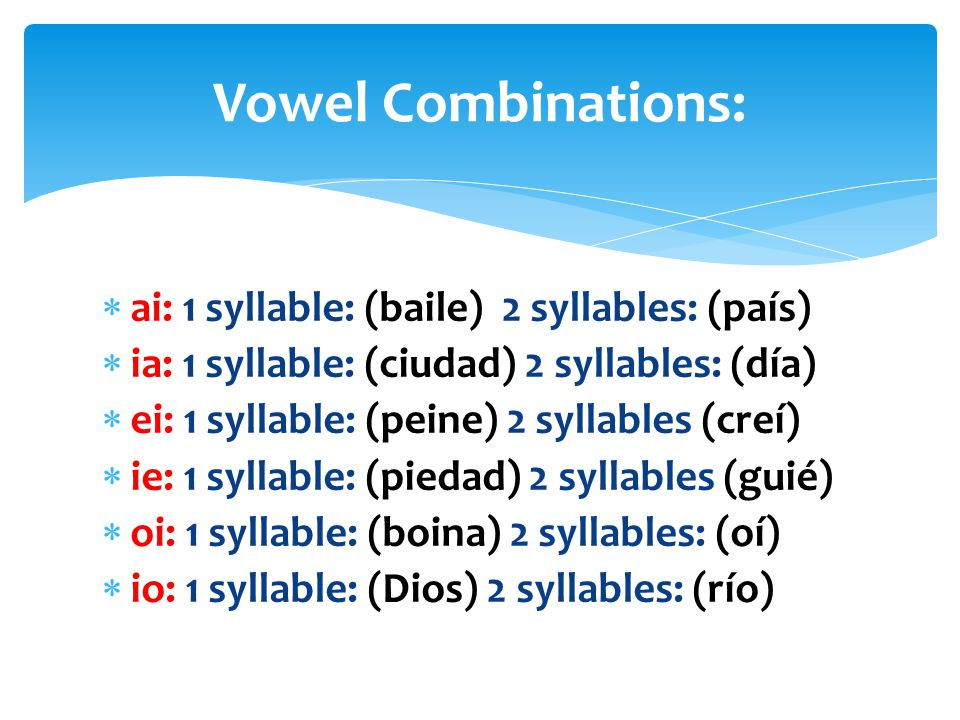 Vowel Combinations: ai: 1 syllable: (baile) 2 syllables: (país)