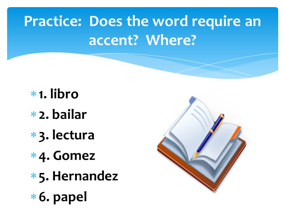 Practice: Does the word require an accent Where