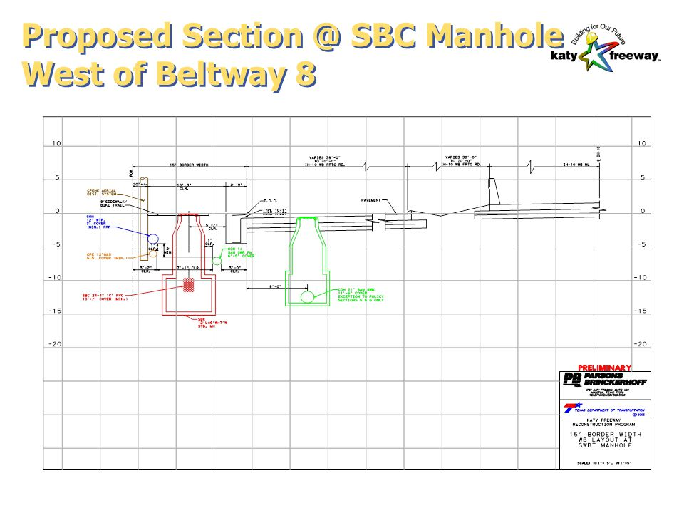Proposed Section @ SBC Manhole West of Beltway 8