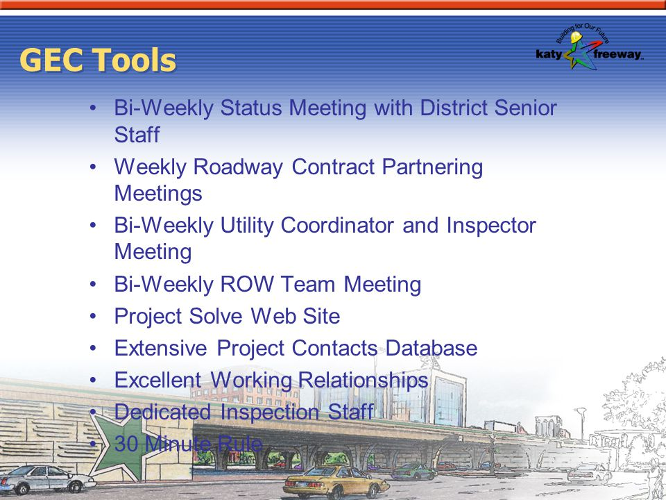 GEC Tools Bi-Weekly Status Meeting with District Senior Staff
