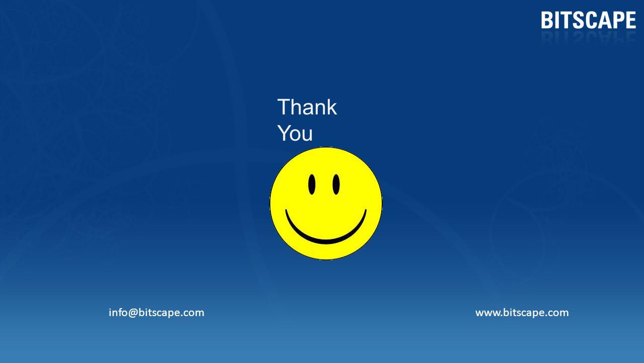 Thank You info@bitscape.com www.bitscape.com