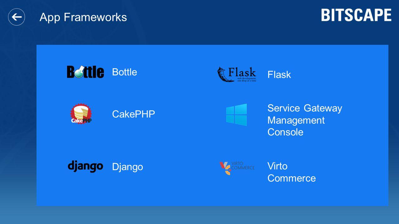 App Frameworks Bottle Flask Service Gateway Management Console CakePHP