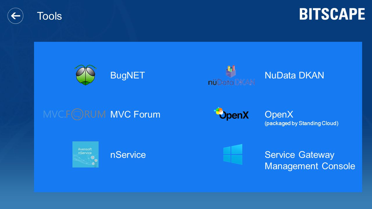 Tools BugNET NuData DKAN MVC Forum OpenX nService Service Gateway