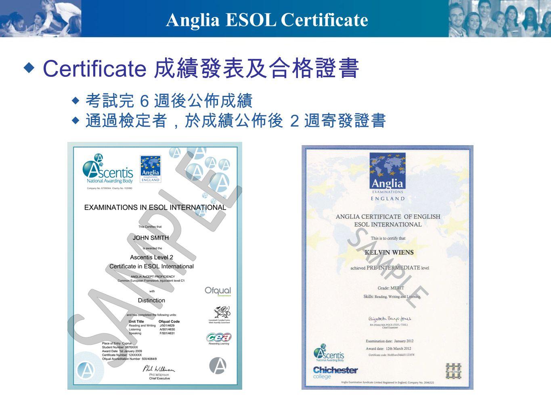 Anglia ESOL Certificate