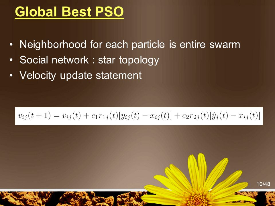 Global Best PSO Neighborhood for each particle is entire swarm