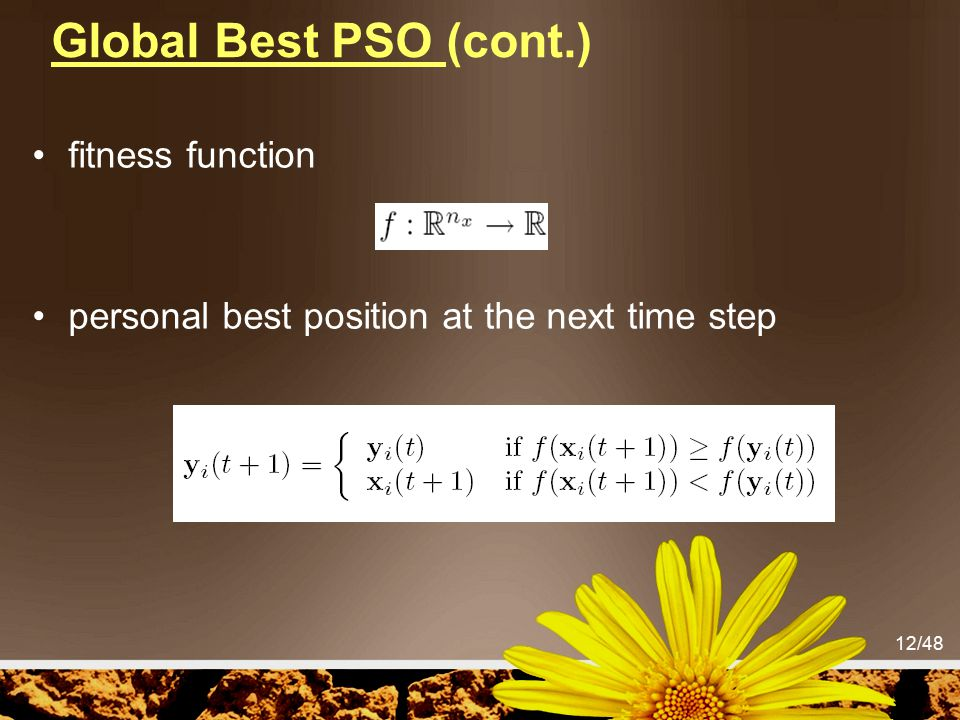 Global Best PSO (cont.) fitness function