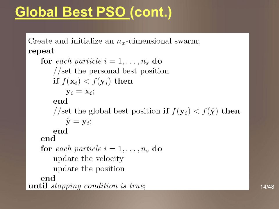 Global Best PSO (cont.)