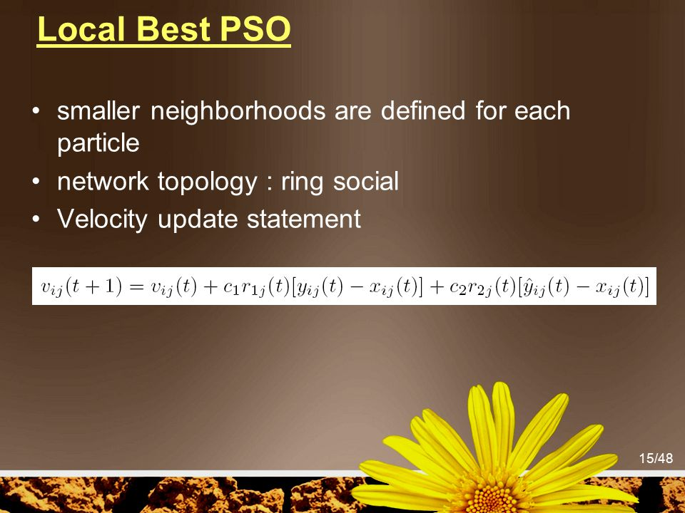 Local Best PSO smaller neighborhoods are defined for each particle