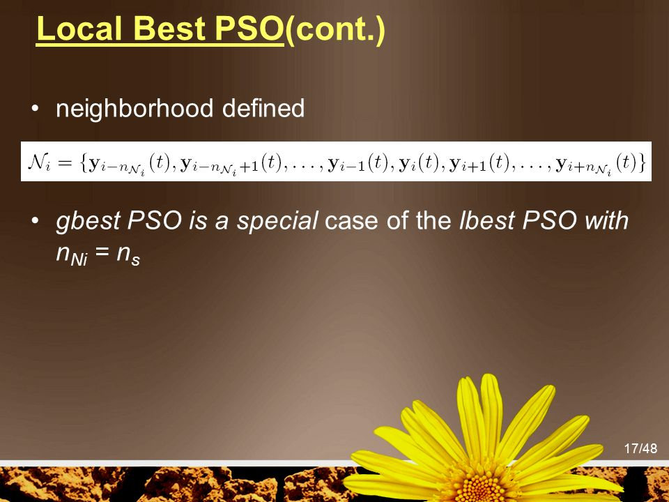 Local Best PSO(cont.) neighborhood defined
