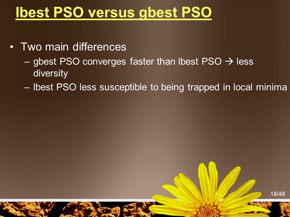 lbest PSO versus gbest PSO