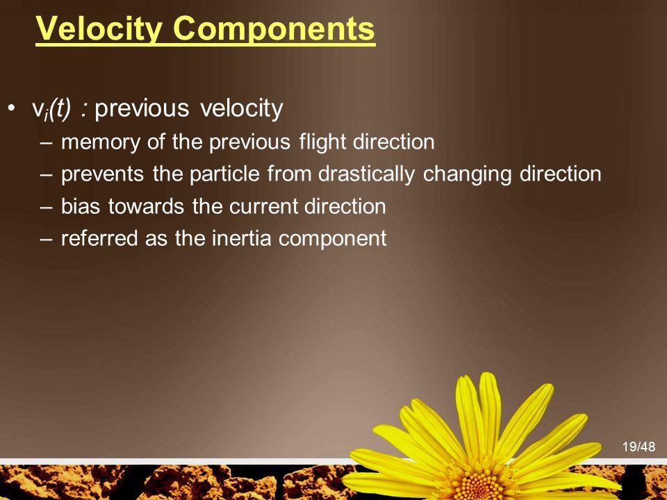 Velocity Components vi(t) : previous velocity