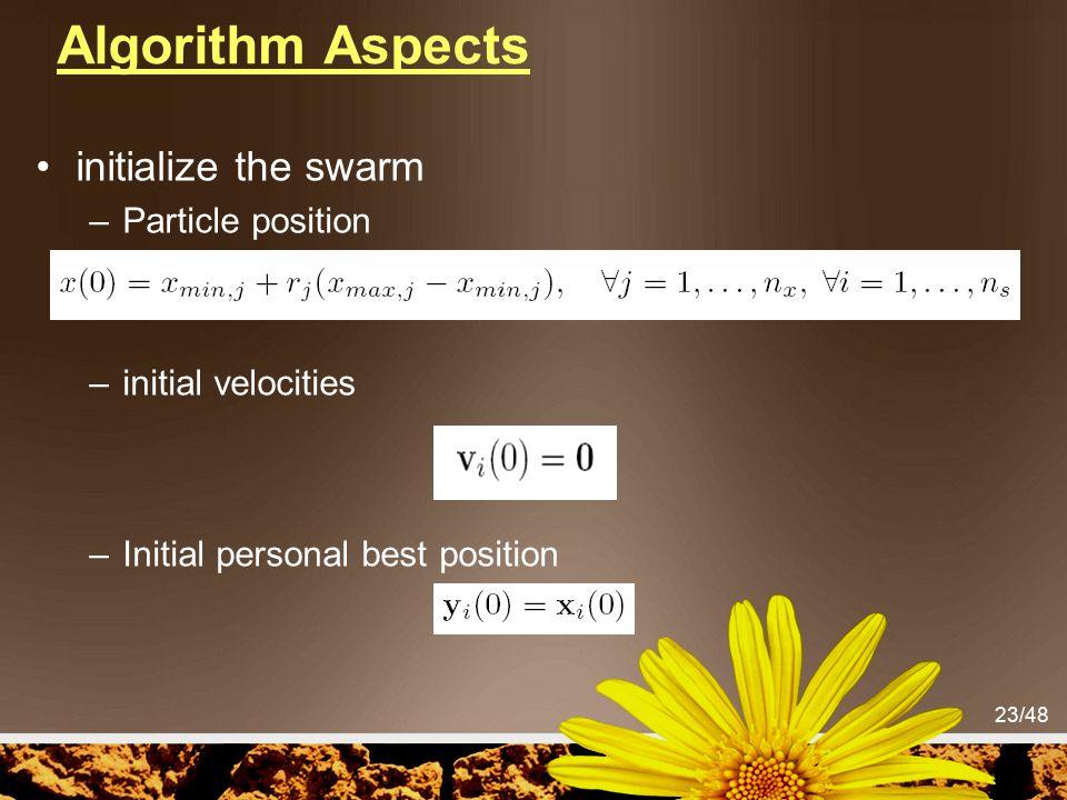 Algorithm Aspects initialize the swarm Particle position
