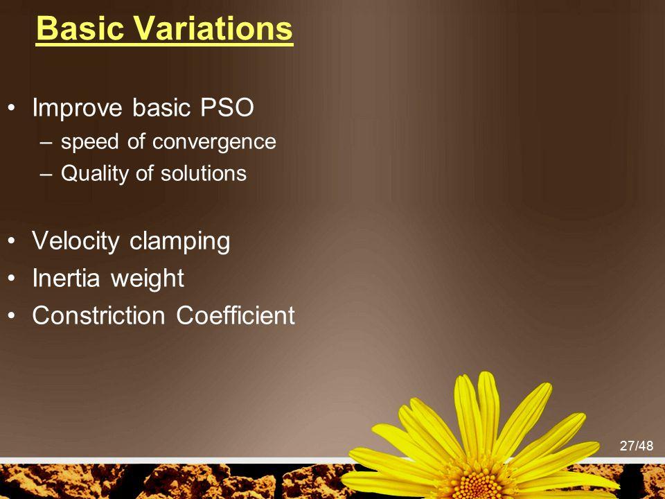 Basic Variations Improve basic PSO Velocity clamping Inertia weight