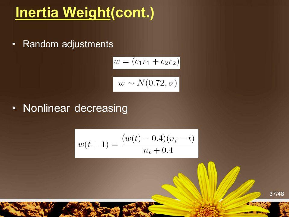 Inertia Weight(cont.) Random adjustments Nonlinear decreasing