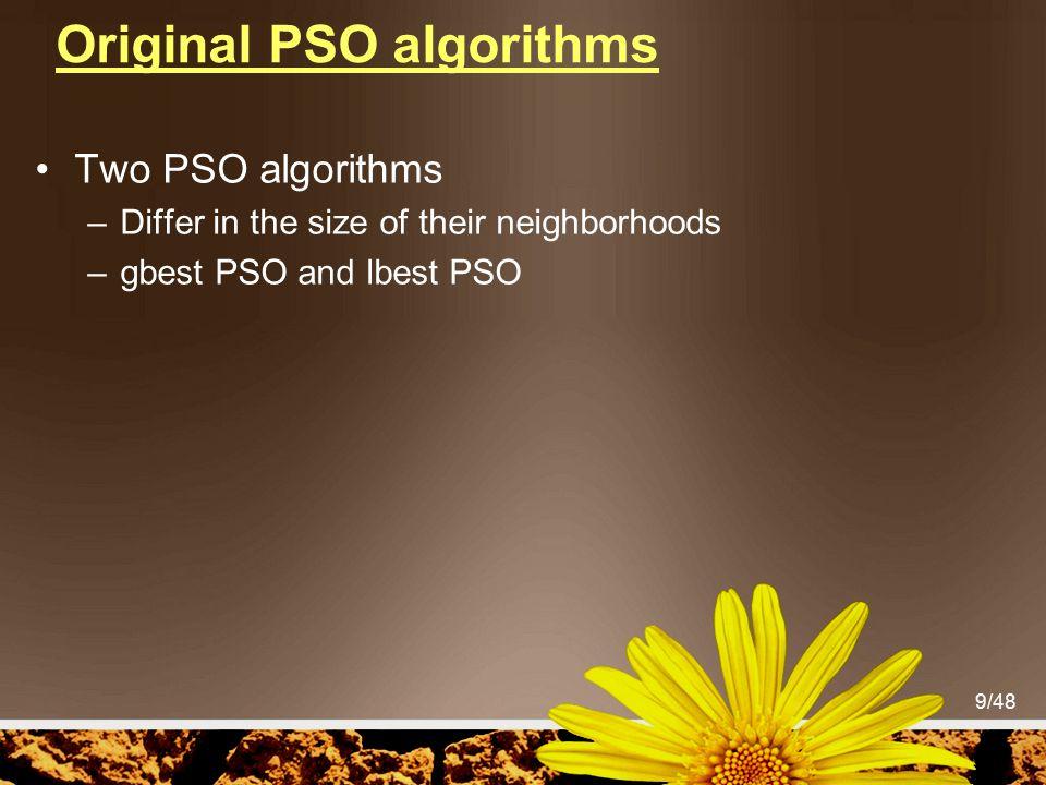 Original PSO algorithms