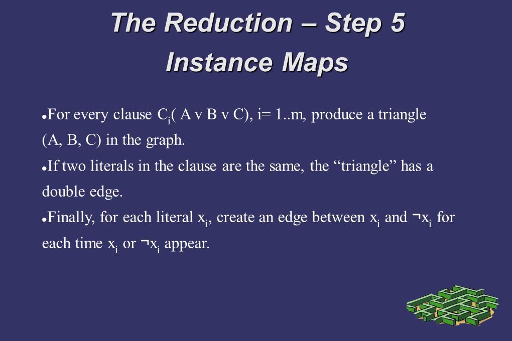The Reduction – Step 5 Instance Maps