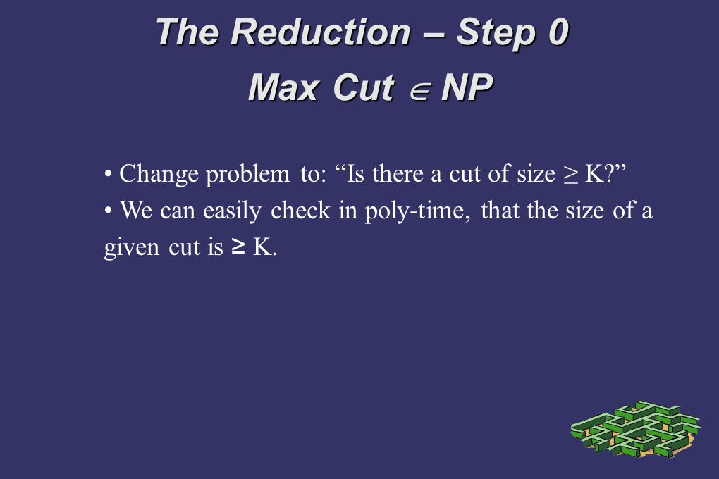 The Reduction – Step 0 Max Cut NP