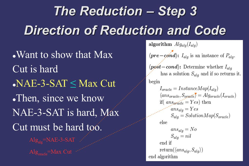 The Reduction – Step 3 Direction of Reduction and Code