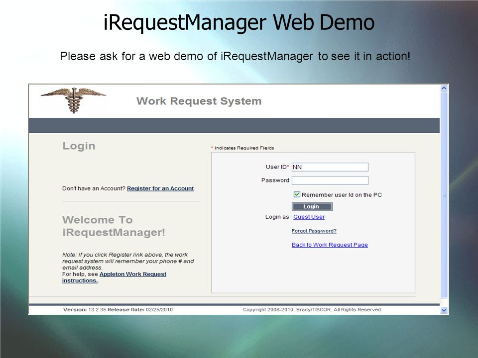 iRequestManager Web Demo