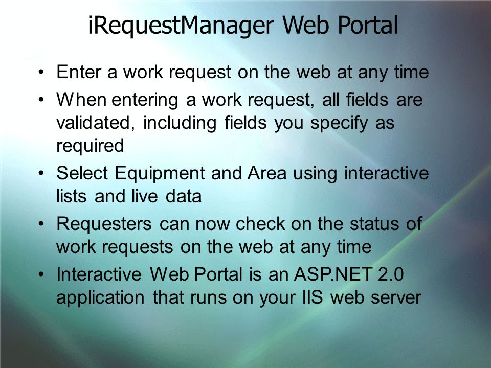 iRequestManager Web Portal