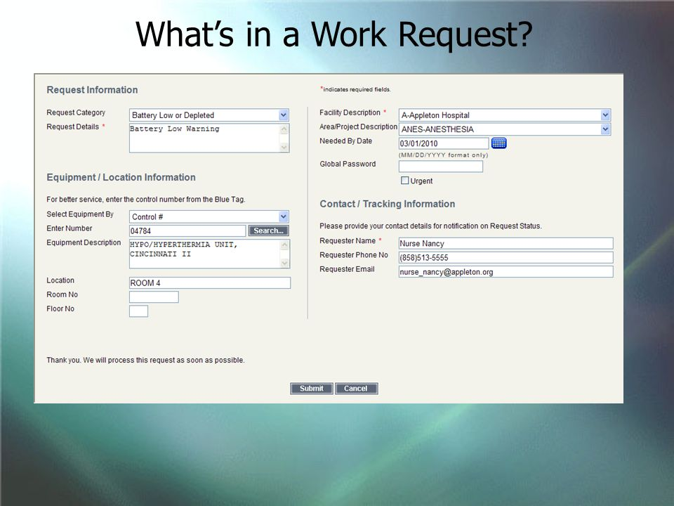 What's in a Work Request