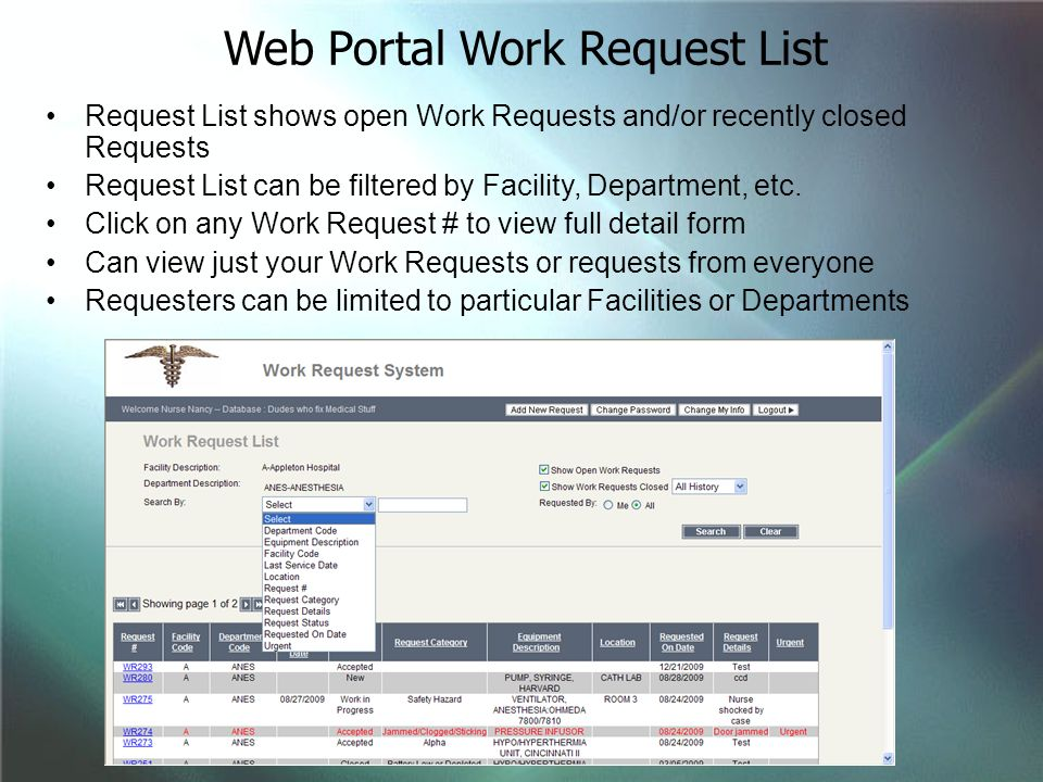 Web Portal Work Request List