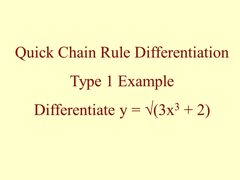 Quick Chain Rule Differentiation Type 1 Example