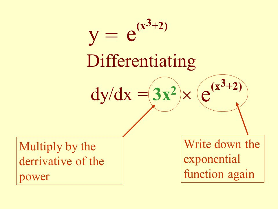 y = e(x3+2) e(x3+2) Differentiating dy/dx = 3x2 