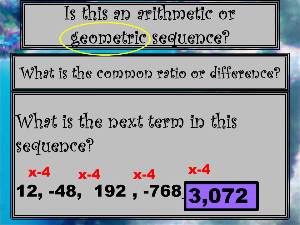 What is the next term in this sequence 12, -48, 192 , -768____